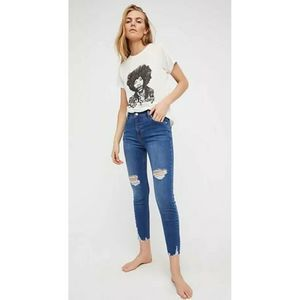 Free People Distressed Raw Hem Skinny Jeans Sz 31